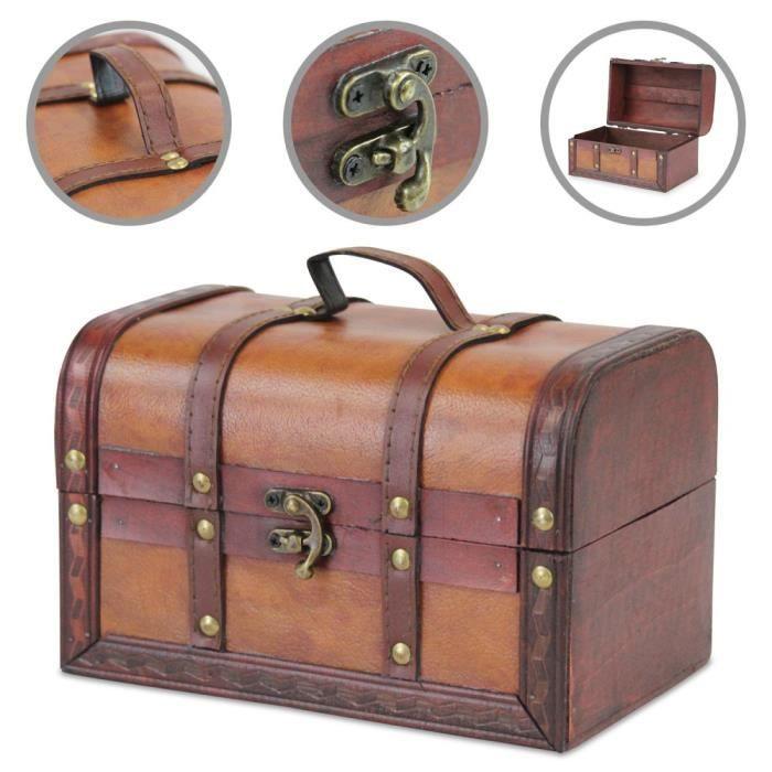 coffre au trésor coffre au trésor en bois en bois avec cuir synthétique, (L x P x H) 22 x 14 x 14 cm, marron