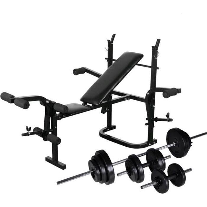 Banc de Musculation Banc d'entraînement avec Support de Poids Jeu d'haltères 30,5kg