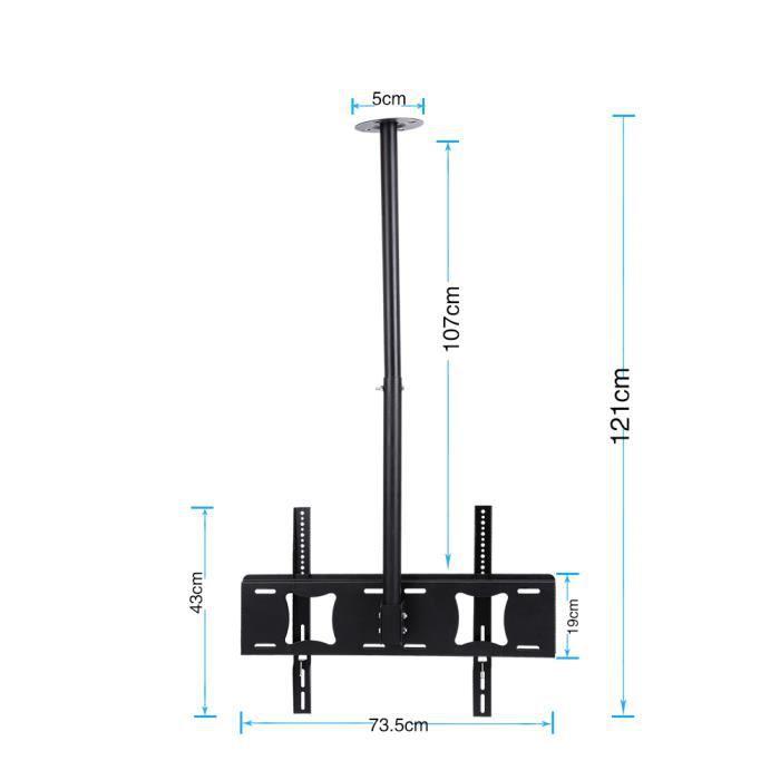Cyanshop® Réglable Support Mural TV de Plafond pour 32-63 Pouces Jusqu'à 80kg Montage de Télévision Écran LCD- LED de Rotatio