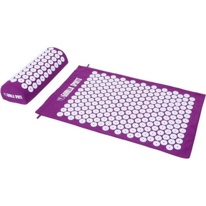 Tapis d'acupression avec coussin et sac de transport - tapis de fakir - tapis de massage - 68 x 42 x 2,5 cm - Couleur : violet
