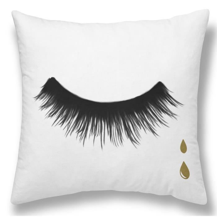 TODAY Coussin GOLD LABEL CILS DROPS 30x30 cm blanc, noir et or