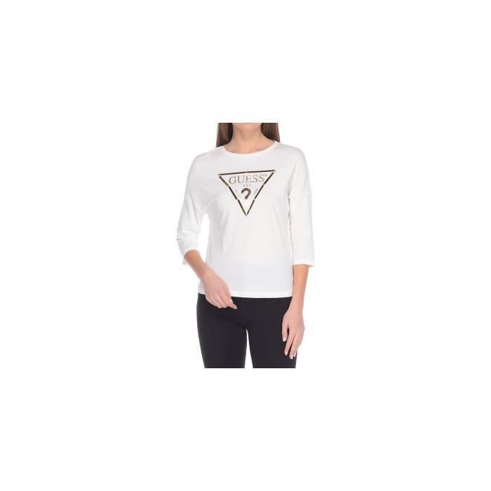 Guess T-Shirt Femme Manches 3-4 Plastic Blanc
