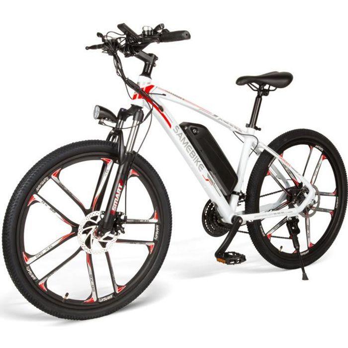 Vélo assistance Electrique 26- Samebike MYSM26 48V 350W 30 km / h - Blanc