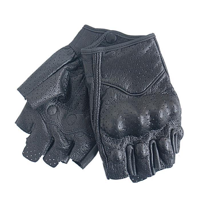 Gants de moto,Gants de Moto en cuir sans doigts pour hommes et femmes, mitaine de Moto, de vélo électrique, de course, de cyclisme,