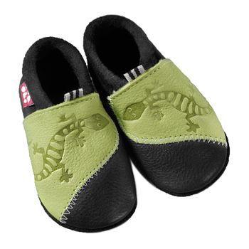 Pololo Chaussons en cuir naturel Gecko vert/ble…