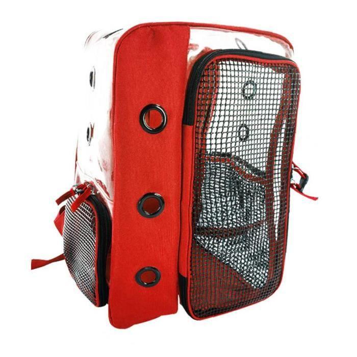 Sac de portefeuille de compagnie sac à dos de chat panoramique transparent respirant extérieur portable chat rouge sac rouge