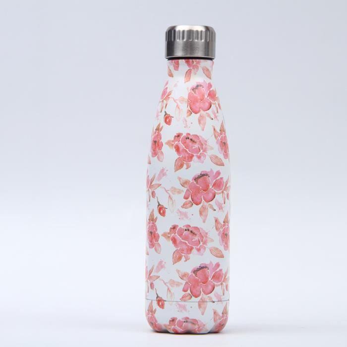 Bouteille d'eau en Acier Inoxydable Fleur Imprimé Thermos 500ml Double Paroi Isolée sous Vide Gourde Isothermes - Style 105