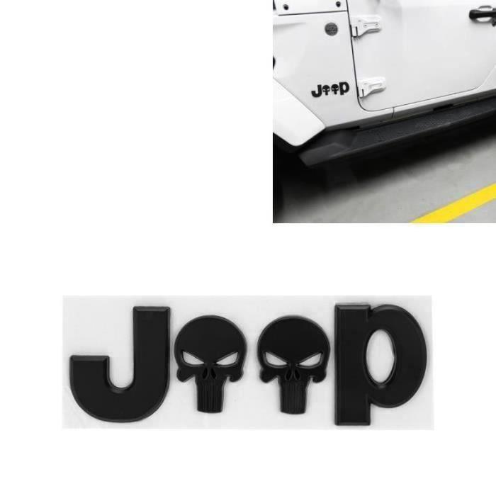 GM13405-JEEP Crâne Sticker Emblème Logo Voiture Auto Cool Métal Marque Autocollant Décoration, noir