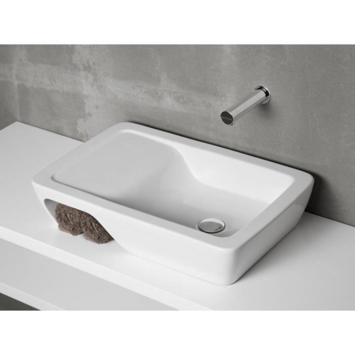 Vasque /à poser ANCOSWING ronde en c/éramique avec trop plein et avec plage de robinetterie