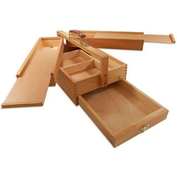 CHEVALET DE PEINTRE Artina - Boite de rangement en bois 39x23x17,5cm p