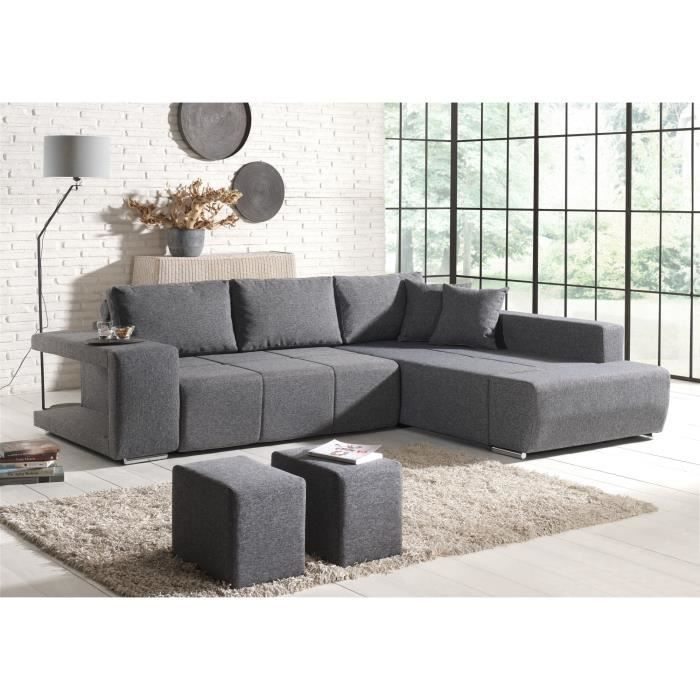 canap d 39 angle convertible tissu gris 2 poufs mila achat vente canap sofa divan. Black Bedroom Furniture Sets. Home Design Ideas
