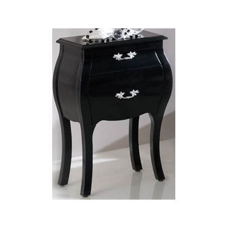 chevet design latika noir laqu 2 tiroirs achat vente. Black Bedroom Furniture Sets. Home Design Ideas