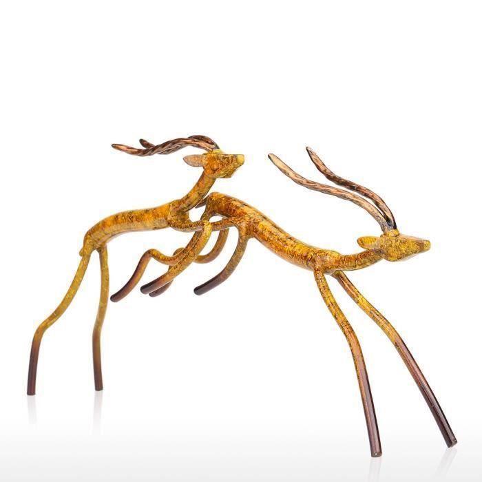 STATUE - STATUETTE YM Tooarts Antilope Sauteur Sculpture Statuette d'