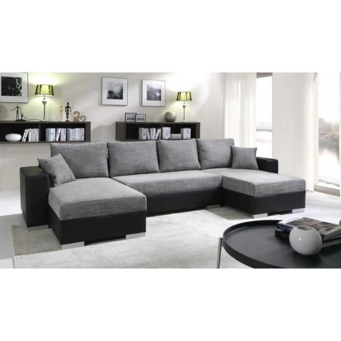 grand canap panoramique r versible enno gris et noir achat vente canap sofa divan. Black Bedroom Furniture Sets. Home Design Ideas