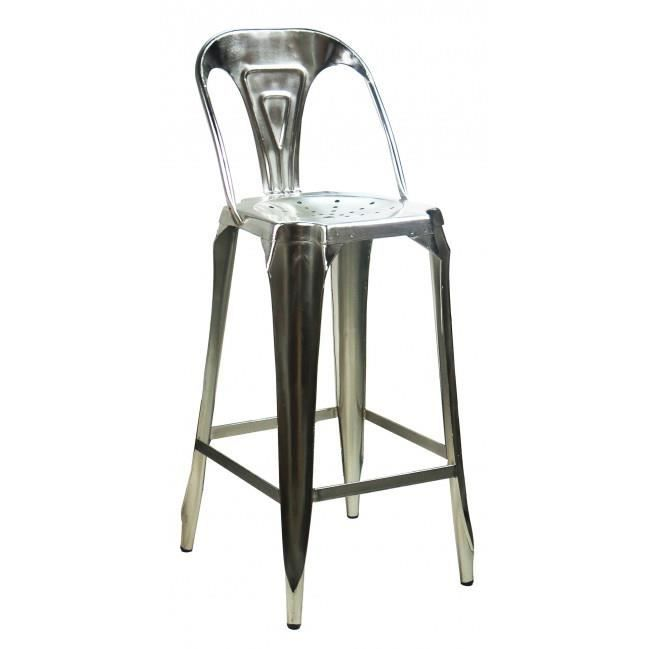 tabouret de bar avec dossier en acier style industriel achat vente tabouret de bar cdiscount. Black Bedroom Furniture Sets. Home Design Ideas