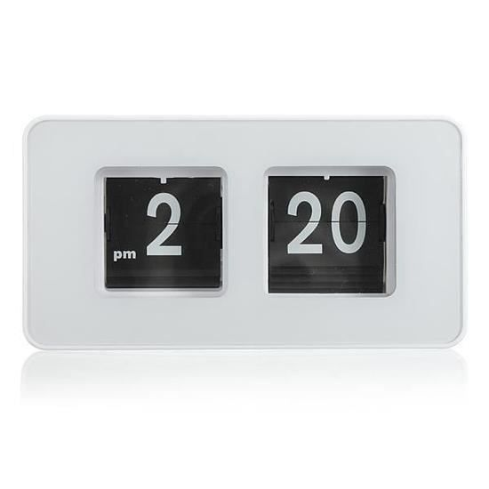 horloge pendule numerique lamelle auto flip flap retro annee 70 n blanc achat vente horloge. Black Bedroom Furniture Sets. Home Design Ideas
