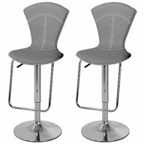 tabouret de bar gris x 2 vegas achat vente tabouret de bar pvc acier cdiscount. Black Bedroom Furniture Sets. Home Design Ideas
