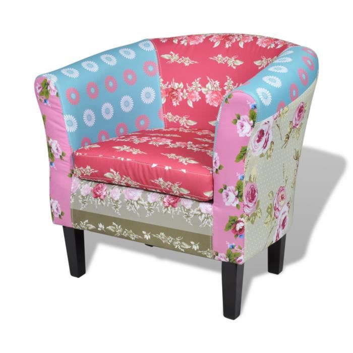 FAUTEUIL Fauteuil ergonomique design floral patchwork multi