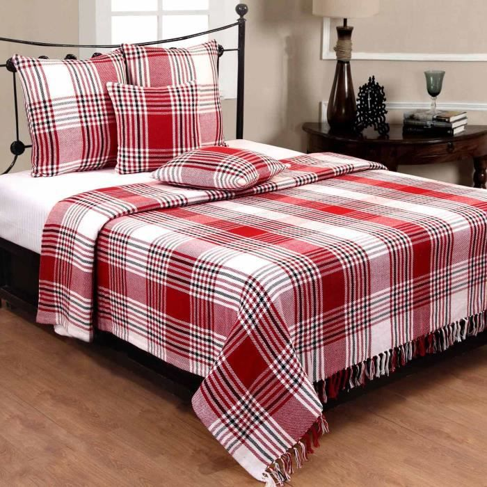 jet de lit ou de canap tartan rouge 250 x 360 cm achat vente jet e de lit boutis cdiscount. Black Bedroom Furniture Sets. Home Design Ideas