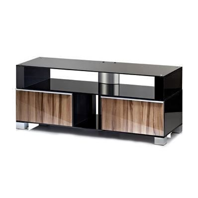 porano xxl 140 meuble tv hifi rangement moderne sur roulettes laqu noir marron achat vente. Black Bedroom Furniture Sets. Home Design Ideas