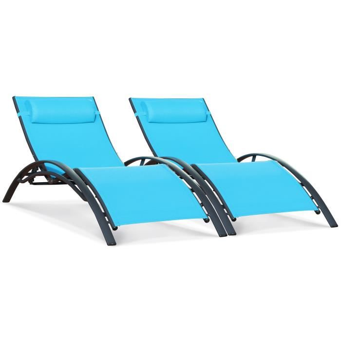 chaise longue de jardin vague turquoise pack de 2 chaises longues achat vente chaise longue. Black Bedroom Furniture Sets. Home Design Ideas