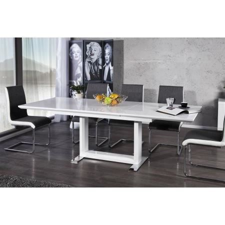 Table manger blanc laqu extensible donna 160 achat - Table sejour blanc laque ...