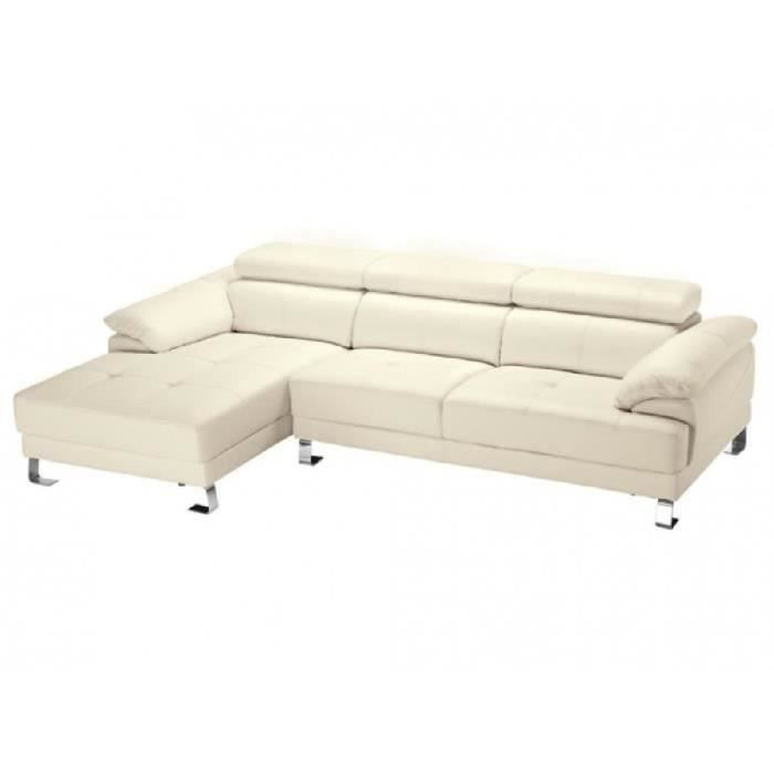 canap d 39 angle en cuir excelsior ii ivoire achat vente canap sofa divan. Black Bedroom Furniture Sets. Home Design Ideas