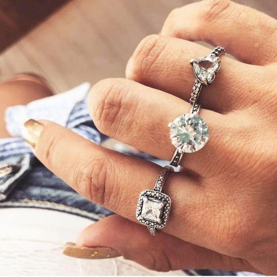 13Pcs argent opale anneaux naturel pierres précieuses diamant bague de mariage
