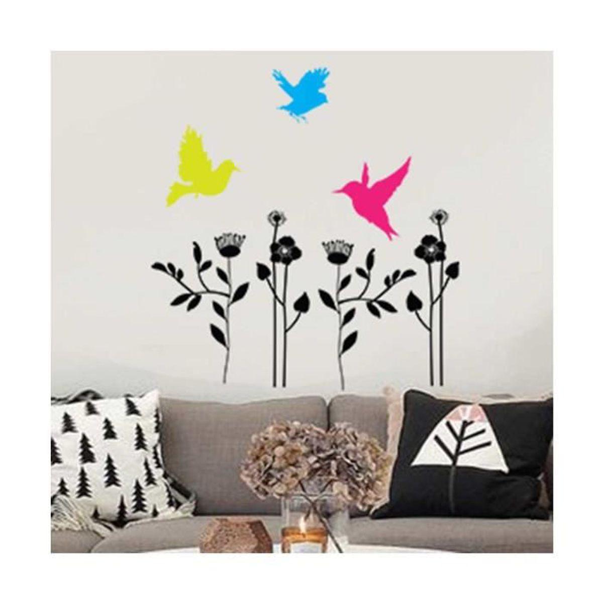 Sticker Oiseaux Sur Un Fil sticker fleurs et oiseaux multicolore - achat / vente