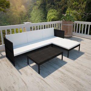 Ensemble table et chaise de jardin ETO Jeu de canapés de jardin 9 pcs Noir Résine tre