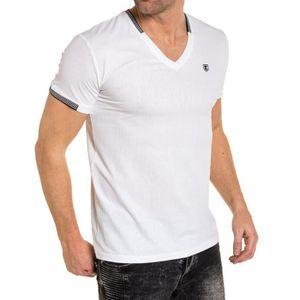 T-SHIRT T-shirt uni blanc col V
