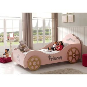 STRUCTURE DE LIT Lit Enfant Voiture Princesse Rose 90x200
