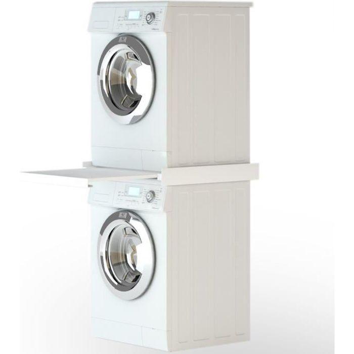 Accessoires pour lave-linge et seche-linge Kit d'empilage avec etagere coulissante pour la machine a laver