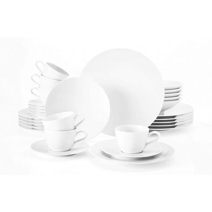 Seltmann Weiden 001.737480 Fashion white Combi service 30 pièces, porcelaine dure
