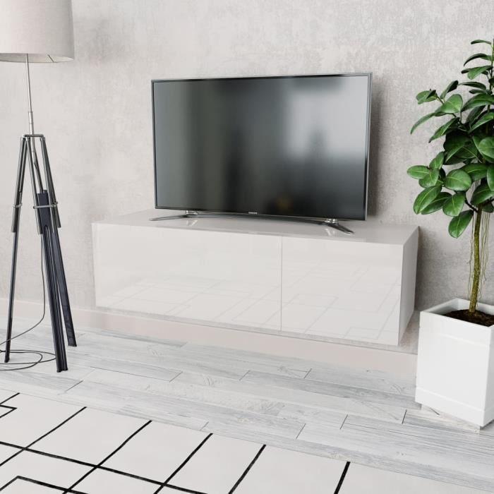 Elégant Meuble TV Design - Meuble de rangement Meuble de Télévision Aggloméré 120 x 40 x 34 cm Blanc brillant ☺53083