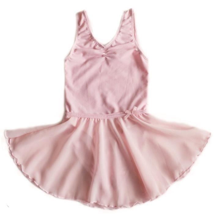 robe de Gymnastique Costume de Ballet jupes de patinage Leotard de Ballet robe de fee pour les petites filles -rose taille: 110cm