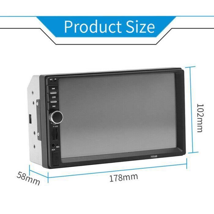 2 Din Autoradio 7 HD Autoradio Bluetooth FM Audio MP5 lecteur 2Din Autoradio Support caméra de recul 7018B Radio - Type Black