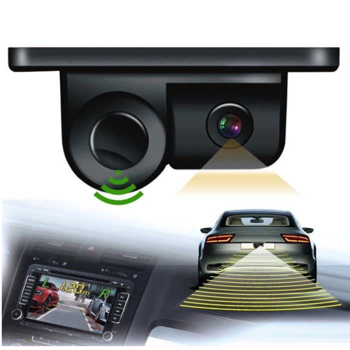 Camera de Recul Auto Voiture étanche 2 en 1 avec kit de capteur de stationnement, caméra de recul de recul automatique