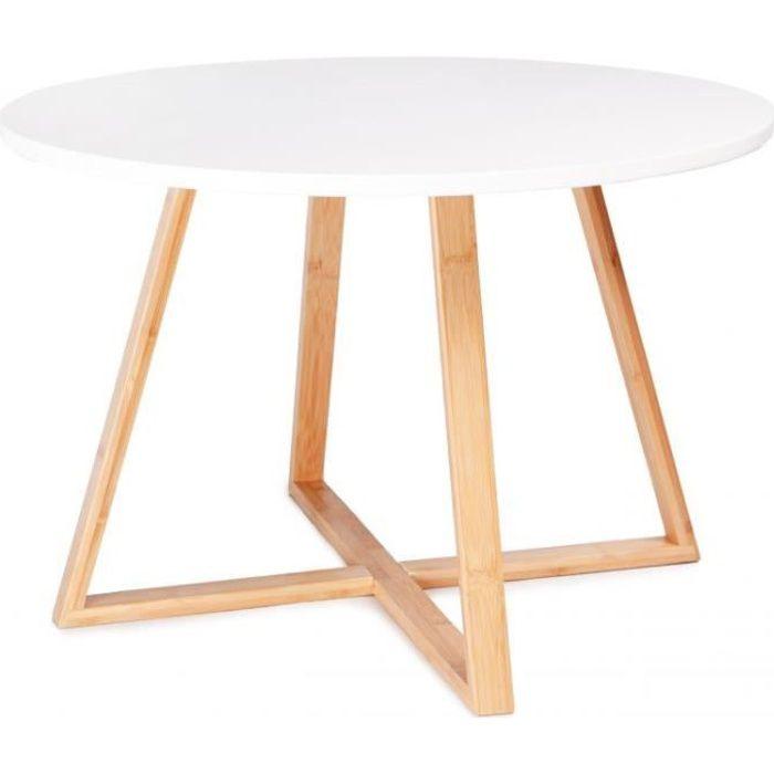 MSTORE - Table basse moderne salon - Diamètre du plateau + Hauteur 40 cm - Bois de bambou - Style scandinave - Blanc