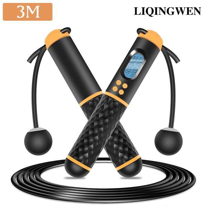 Corde à Sauter Sans Corde Compteur LED Numérique 3M Corde à Sauter sans Fil Enfant Adulte Réglable pour Exercice de Fitness