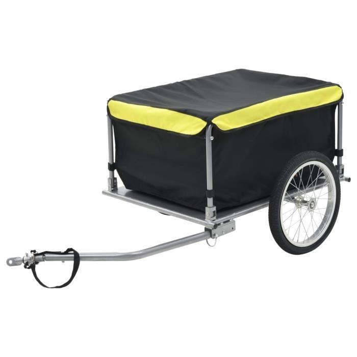 Vélo Cargo Remorque Wagon À Bicyclette De Stockage De Bagages Remorque Panier Transporteur Noir et jaune 65 kg -PAI