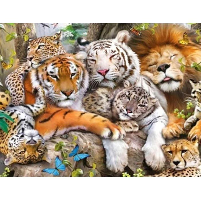 5D Diamond Painting DIY Kits Tigre Lion Léopard- Animal Bête Broderie Diamant Kits De Broderie Au Point De Croix Strass Rond R[448]
