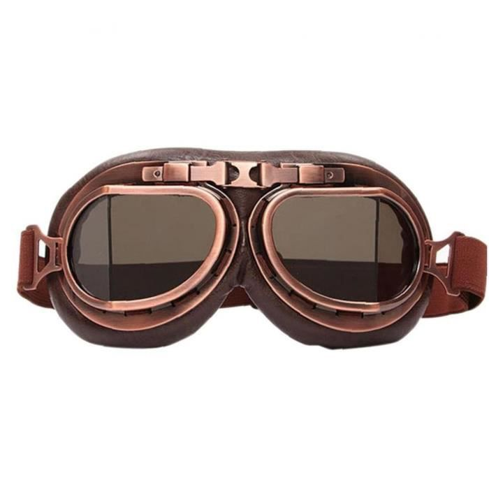 Moto Goggles Adulte Moto Biker Lunettes Steampunk Moto Casque Sunglasses Vintage SteamPunk Eyewear pour Sports de plein air Motocros