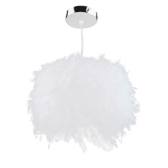 Lampe de suspension en Plume pour salon exposition Hall (Blanc, S) 110-240V