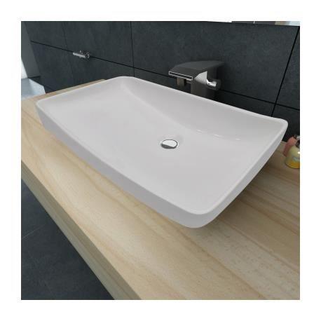 Vasque en céramique Rectangulaire Blanche 71 x ...