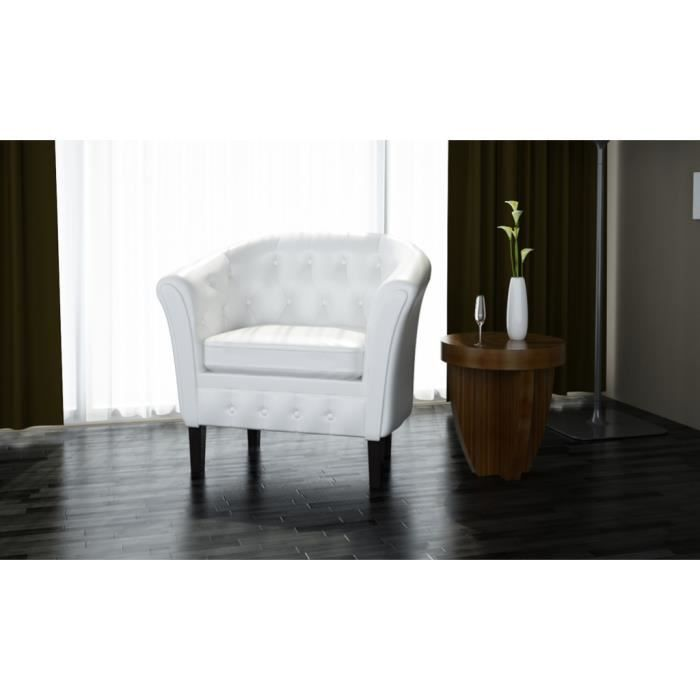 Fauteuil Chesterfield Blanc en cuir synthétique design confortable dans Salon reposer Haute qualité