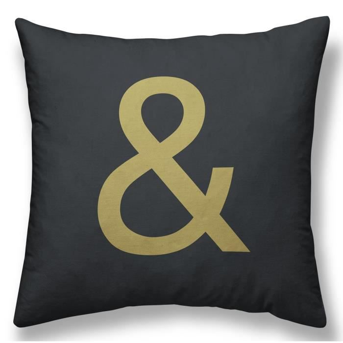 TODAY Coussin GOLD LABEL ESPERLUETTE 30x30 cm blanc, noir et or