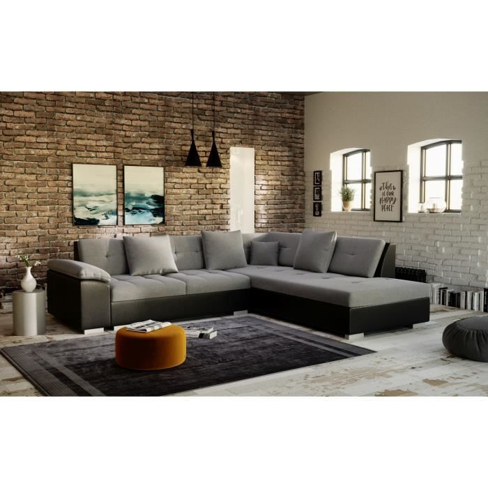 PORTOS - canapé d'angle - angle droit - gris noir