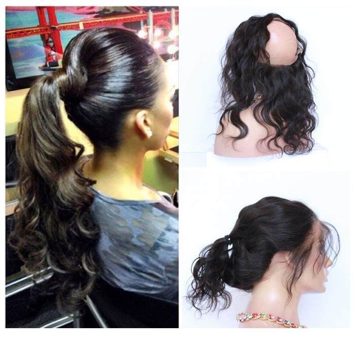 360 lace band frontal closure cheveux Bresilien naturel body wave cheveux humains 7A