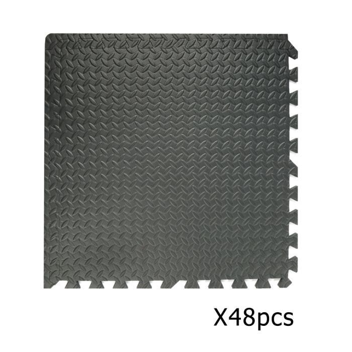 48 x Tapis de protection de sol en mousse 60x60 cm pour sport puzzle piscine enfant Noir
